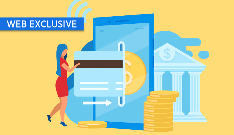 Illustration of a women inserting a giant credit card into a slot, with giant coins and a bank building around her