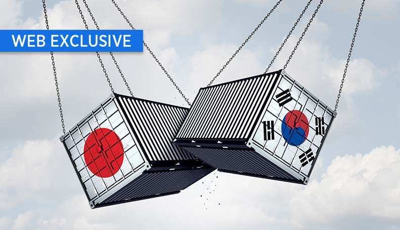 Image of two shipping containers (one with an image of the Japan flag on its side, the other with the South Korean flag) swinging in mid-air and crashing against the other