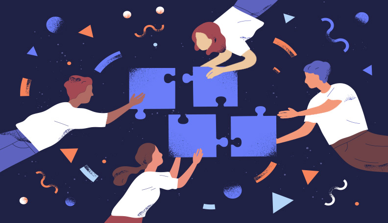 Illustration of four people joining jigsaw pieces together
