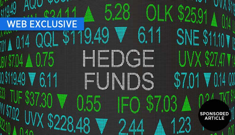 Stock market board with the words 'HEDGE FUNDS' in the centre