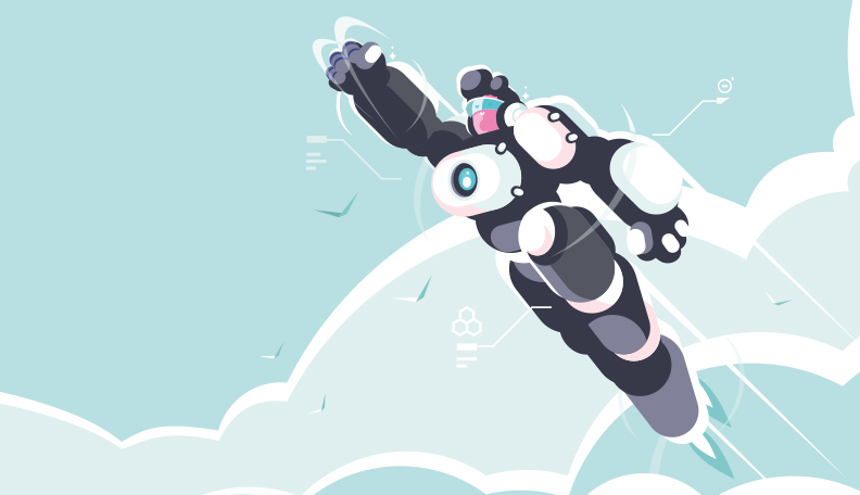 Illustration of a person dressed in a high-tech super suit flying into the sky
