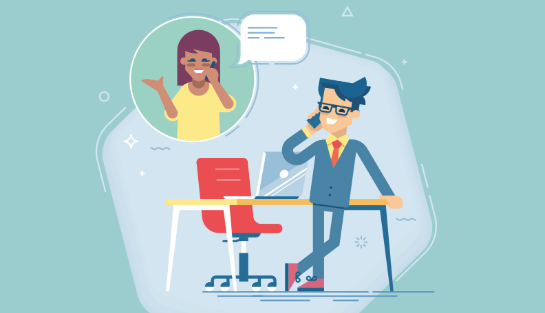 Illustration of a mentor and mentee talking on the phone