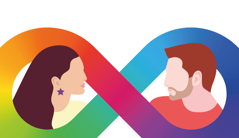 Illustration of a male and a female head encircled by a colourful infinity loop