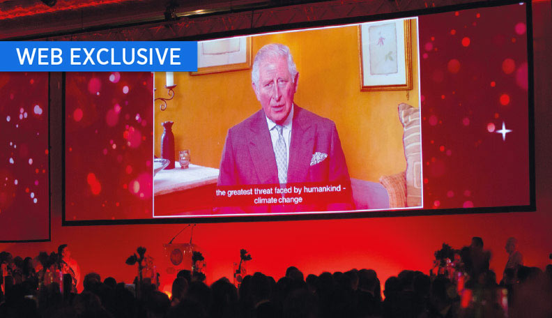 Image of Prince Charles addressing the ACT's annual dinner on a large screen