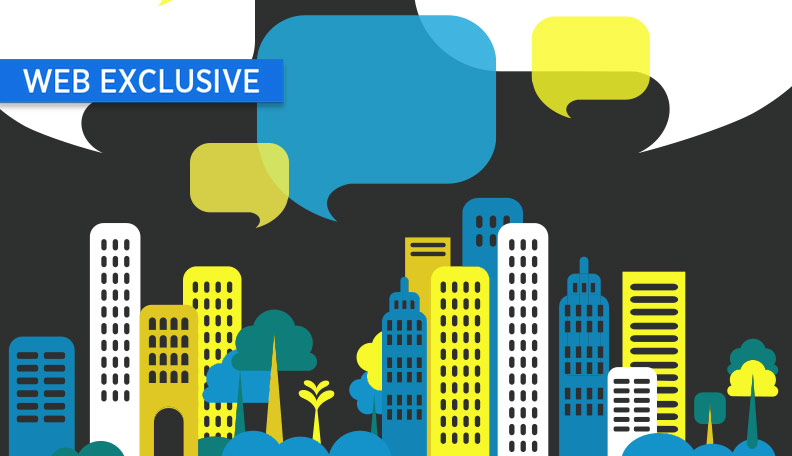 "alt=""Illustration of a cityscape with several speech bubbles above it"""
